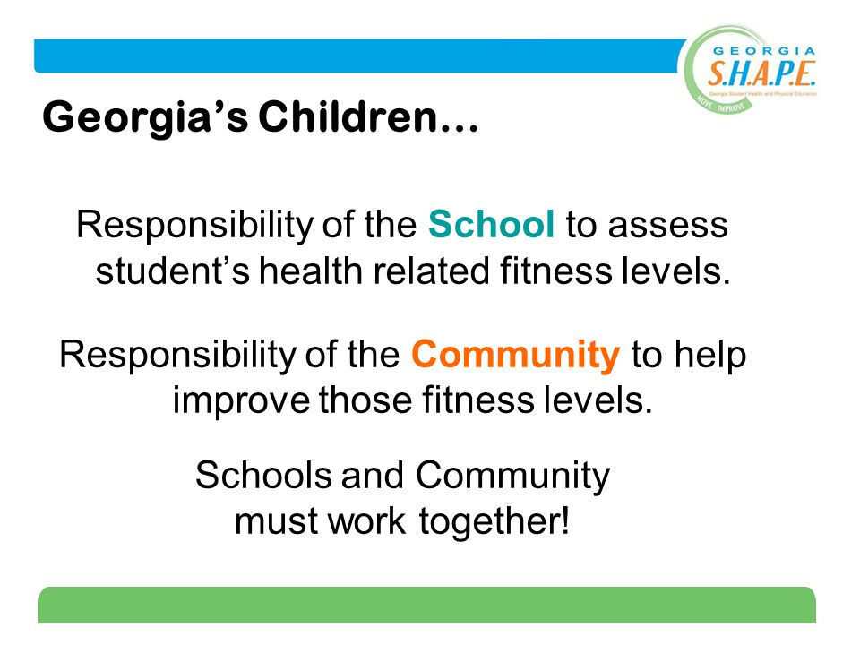 18 Georgia's Children… Responsibility of the School to assess student's health related fitness levels.