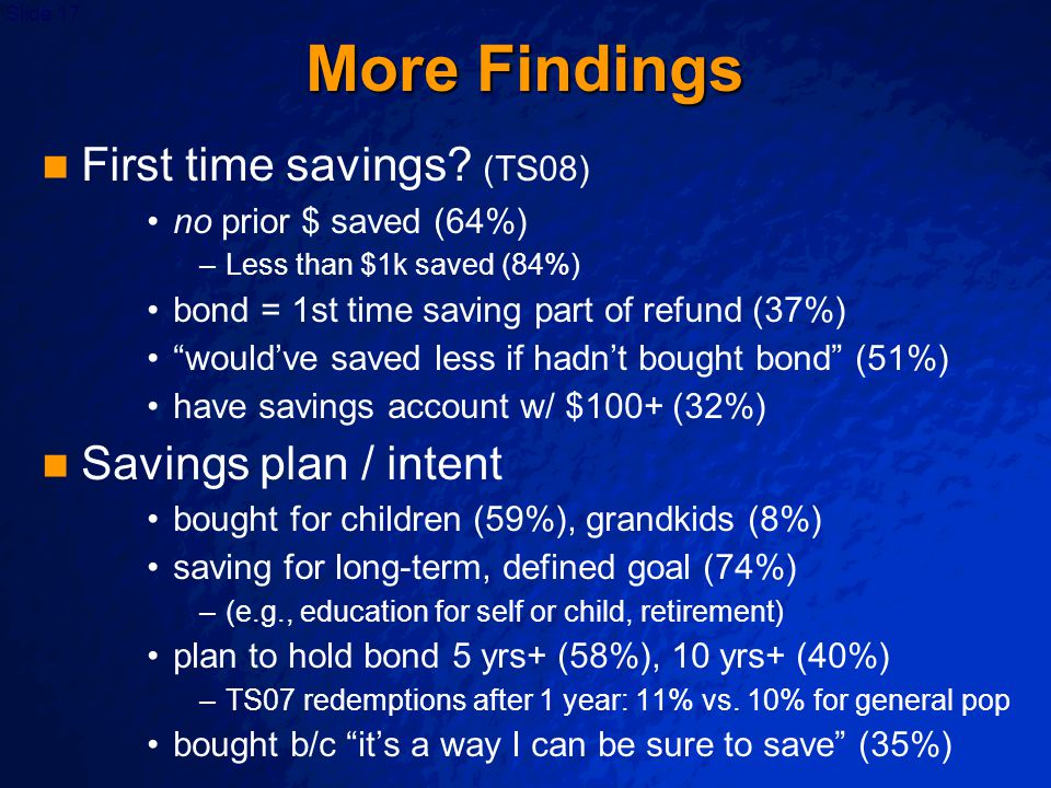 """Slide 17 More Findings First time savings? (TS08) no prior $ saved (64%) – –Less than $1k saved (84%) bond = 1st time saving part of refund (37%) """"wou"""