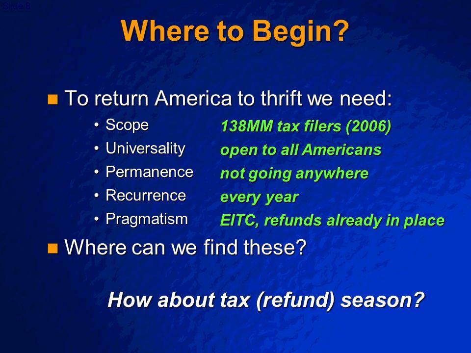 Slide 8 Where to Begin? To return America to thrift we need: To return America to thrift we need: ScopeScope UniversalityUniversality PermanencePerman
