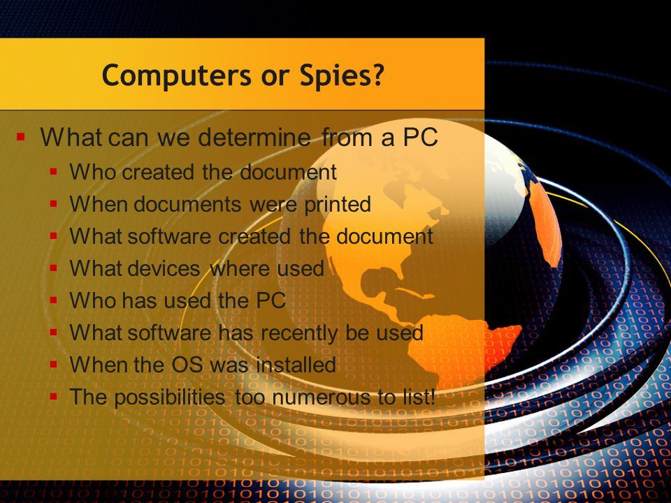 Computers or Spies.