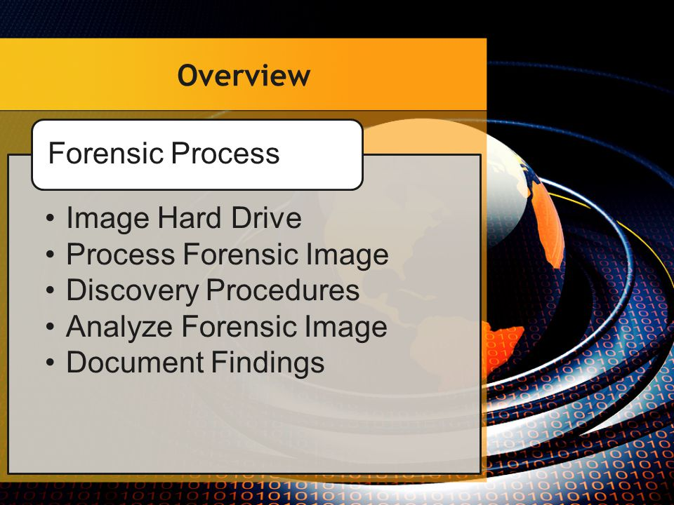 Stage of the Forensic Process Document & Photograph Connect Drive to Write Block Connect PC to Write Block Create Forensic Image Secure Original Evidence Drive Allocate 1 Day Image Hard Drive