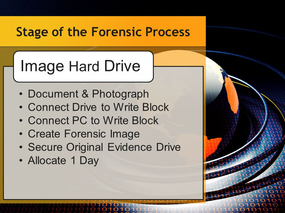 Stage of the Forensic Process Update Forensic PC Windows & Anti-Virus Forensic Software Select Forensic Software Encase Forensic Tool Kit Etc… Start the processing Allocate 2-3 Days for each Drive Process Forensic Image