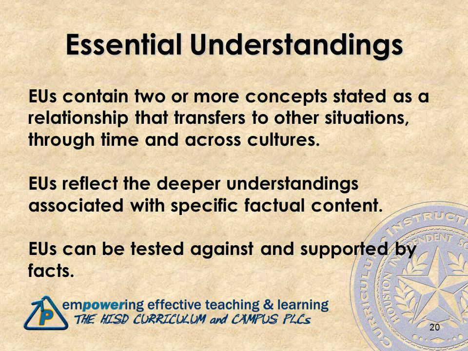 20 Essential Understandings EUs contain two or more concepts stated as a relationship that transfers to other situations, through time and across cultures.