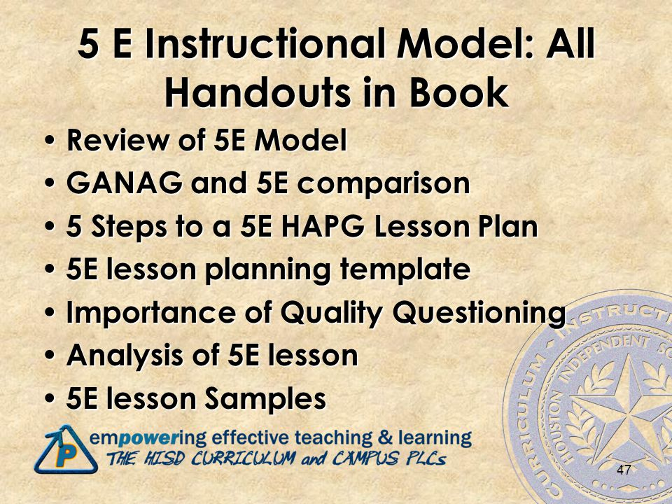 47 5 E Instructional Model: All Handouts in Book Review of 5E Model Review of 5E Model GANAG and 5E comparison GANAG and 5E comparison 5 Steps to a 5E HAPG Lesson Plan 5 Steps to a 5E HAPG Lesson Plan 5E lesson planning template 5E lesson planning template Importance of Quality Questioning Importance of Quality Questioning Analysis of 5E lesson Analysis of 5E lesson 5E lesson Samples 5E lesson Samples
