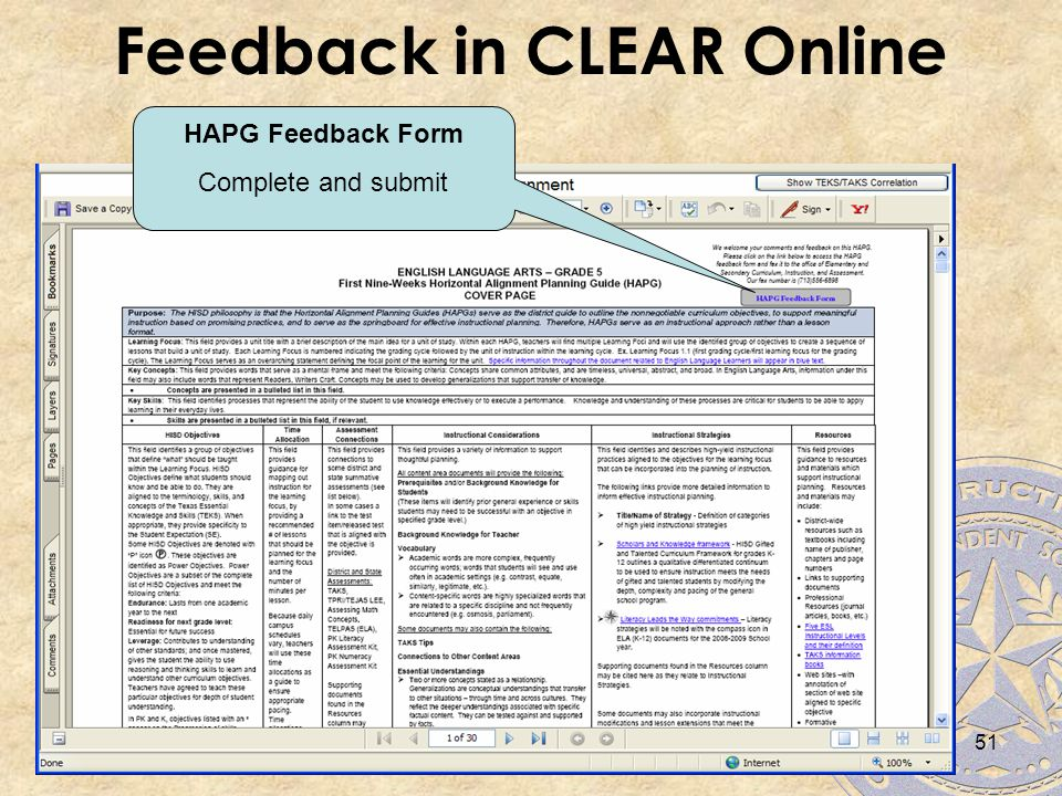 Feedback in CLEAR Online HAPG Feedback Form Complete and submit 51