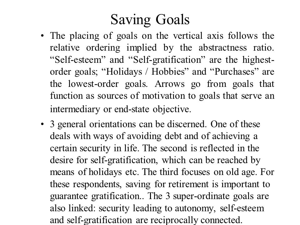 Saving Goals The placing of goals on the vertical axis follows the relative ordering implied by the abstractness ratio.