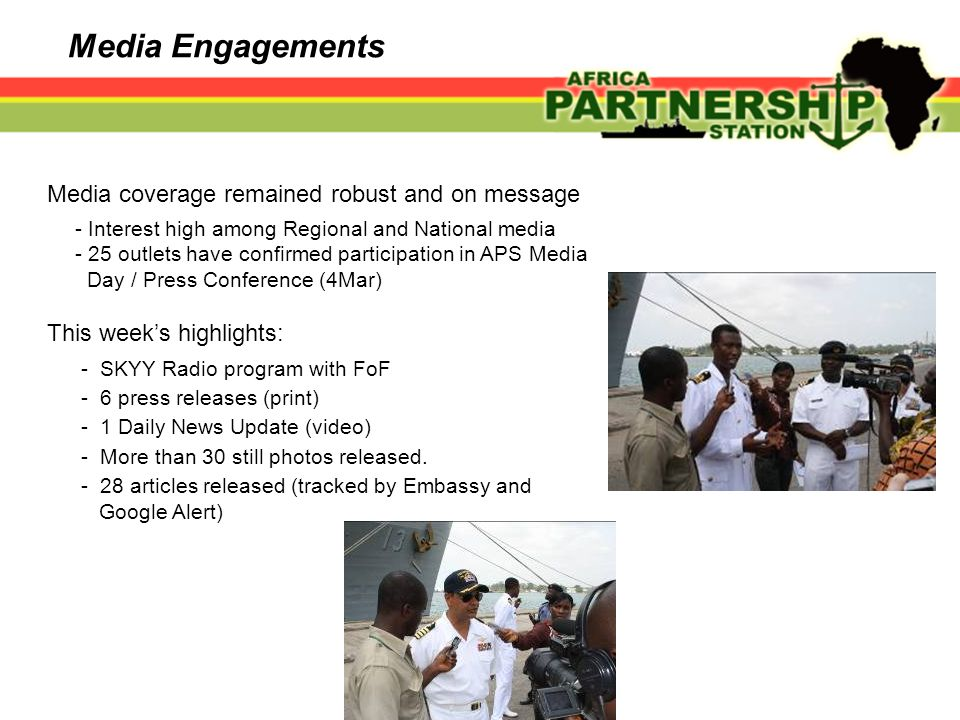 Media Engagements Media coverage remained robust and on message - Interest high among Regional and National media - 25 outlets have confirmed particip