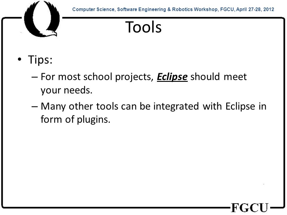 Demo 1 Hello, World.– How to edit, compile, and execute Java programs in Eclipse.