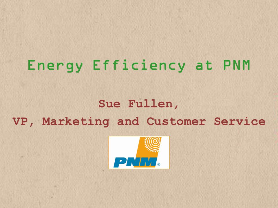 Energy Efficiency at PNM Sue Fullen, VP, Marketing and Customer Service