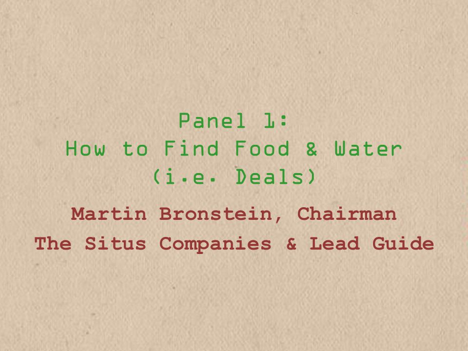 Panel 1: How to Find Food & Water (i.e.