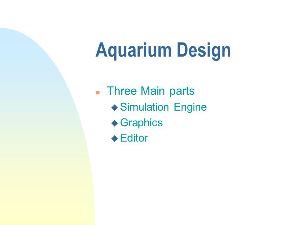 Aquarium Design n Three Main parts u Simulation Engine u Graphics u Editor