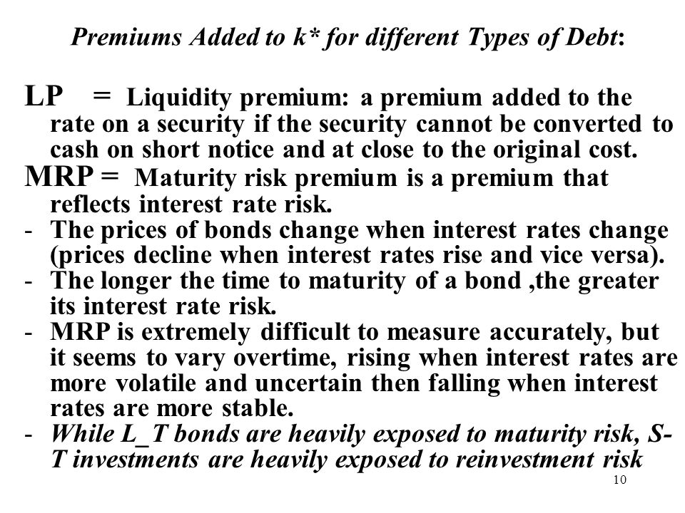 10 Premiums Added to k* for different Types of Debt: LP = Liquidity premium: a premium added to the rate on a security if the security cannot be converted to cash on short notice and at close to the original cost.