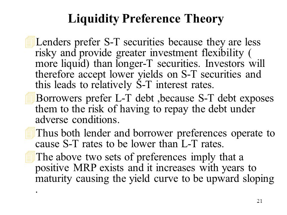 21 Liquidity Preference Theory 4 Lenders prefer S-T securities because they are less risky and provide greater investment flexibility ( more liquid) than longer-T securities.