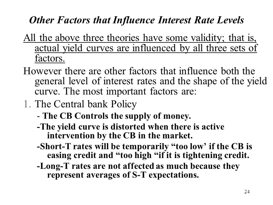 24 Other Factors that Influence Interest Rate Levels All the above three theories have some validity; that is, actual yield curves are influenced by all three sets of factors.
