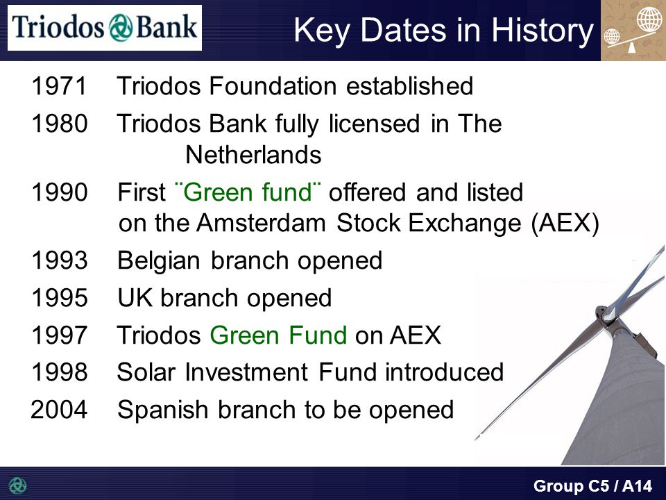 Group C5 / A14 Key Dates in History 1971 Triodos Foundation established 1980 Triodos Bank fully licensed in The Netherlands 1990 First ¨Green fund¨ offered and listed on the Amsterdam Stock Exchange (AEX) 1993 Belgian branch opened 1995 UK branch opened 1997 Triodos Green Fund on AEX 1998 Solar Investment Fund introduced 2004 Spanish branch to be opened