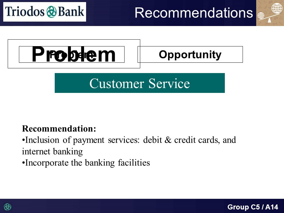 Group C5 / A14 Recommendations Customer Service Problem Recommendation: Inclusion of payment services: debit & credit cards, and internet banking Incorporate the banking facilities Opportunity Problem