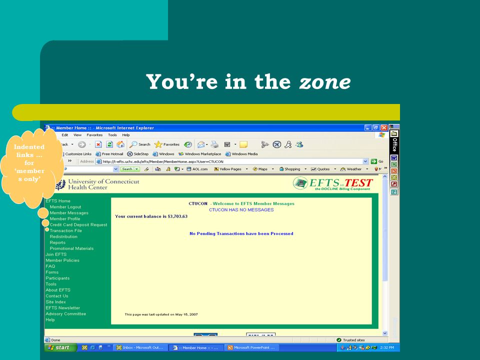 You're in the zone Indented links … for 'member s only'