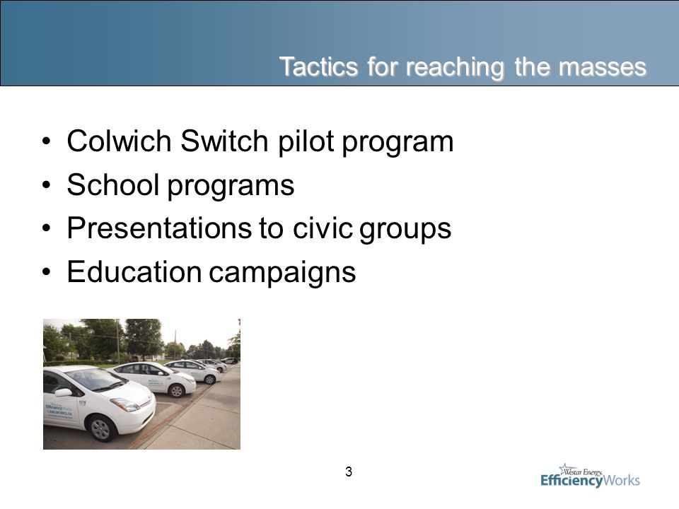 3 Tactics for reaching the masses Colwich Switch pilot program School programs Presentations to civic groups Education campaigns