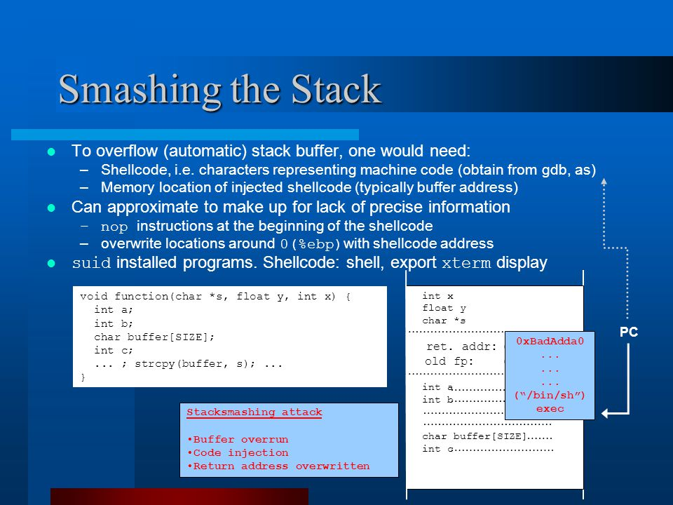 Smashing the Stack void function(char *s, float y, int x) { int a; int b; char buffer[SIZE]; int c;...