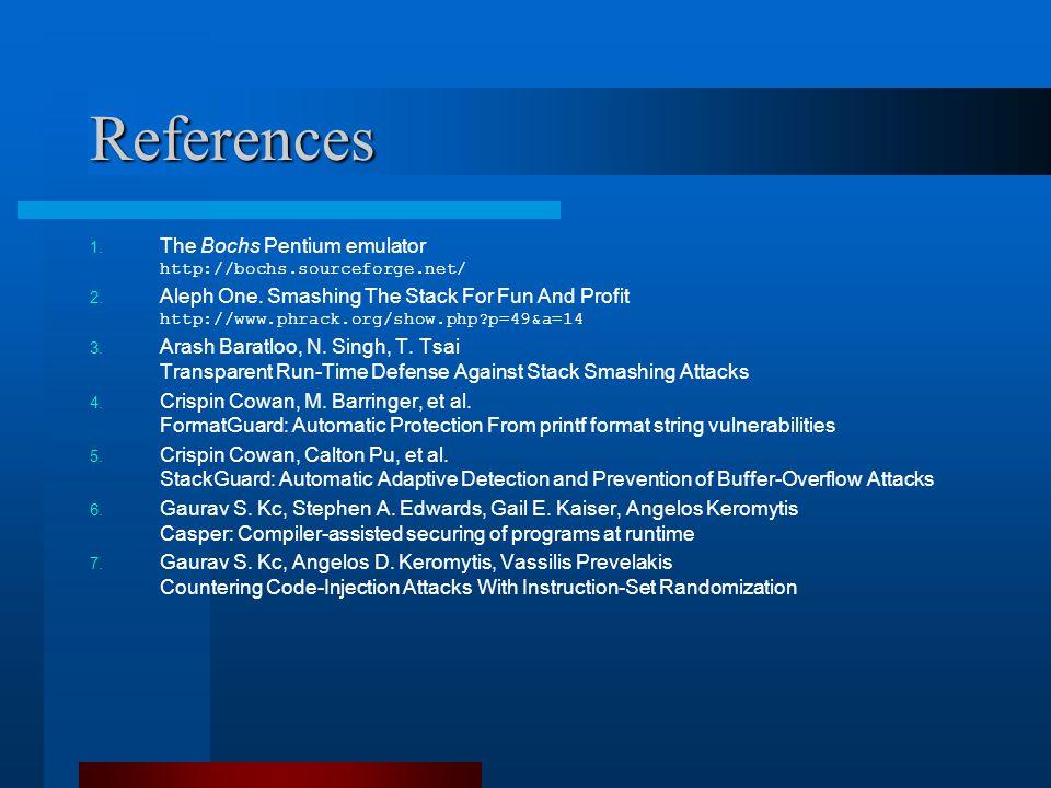 References 1. The Bochs Pentium emulator http://bochs.sourceforge.net/ 2.