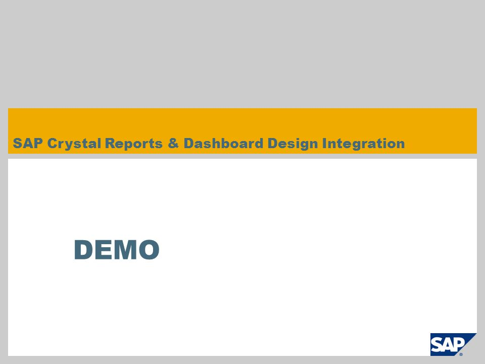 SAP Crystal Reports & Dashboard Design Integration DEMO