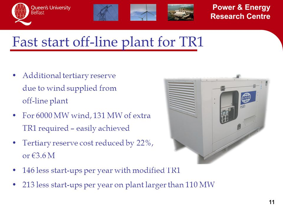 11 Fast start off-line plant for TR1 Additional tertiary reserve due to wind supplied from off-line plant For 6000 MW wind, 131 MW of extra TR1 required – easily achieved Tertiary reserve cost reduced by 22%, or €3.6 M 146 less start-ups per year with modified TR1 213 less start-ups per year on plant larger than 110 MW