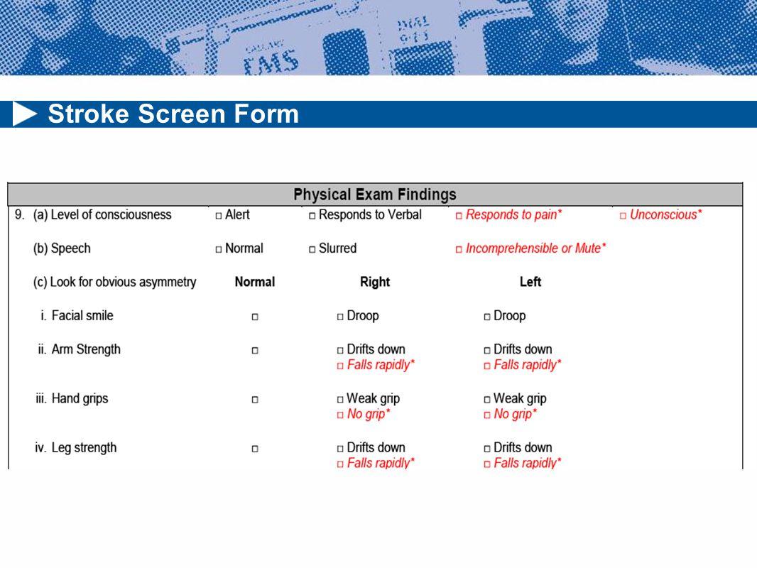 Stroke Screen Form