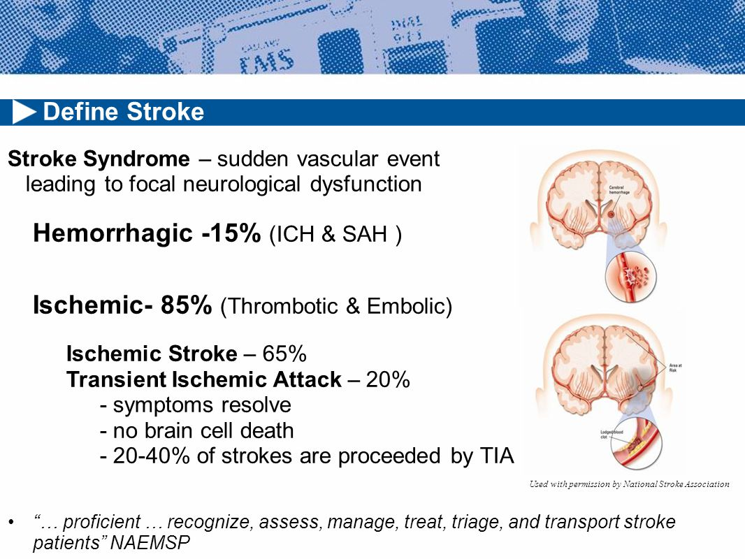 Stroke Syndrome – sudden vascular event leading to focal neurological dysfunction Hemorrhagic -15% (ICH & SAH ) Ischemic- 85% (Thrombotic & Embolic) Ischemic Stroke – 65% Transient Ischemic Attack – 20% - symptoms resolve - no brain cell death - 20-40% of strokes are proceeded by TIA … proficient … recognize, assess, manage, treat, triage, and transport stroke patients NAEMSP Define Stroke Used with permission by National Stroke Association