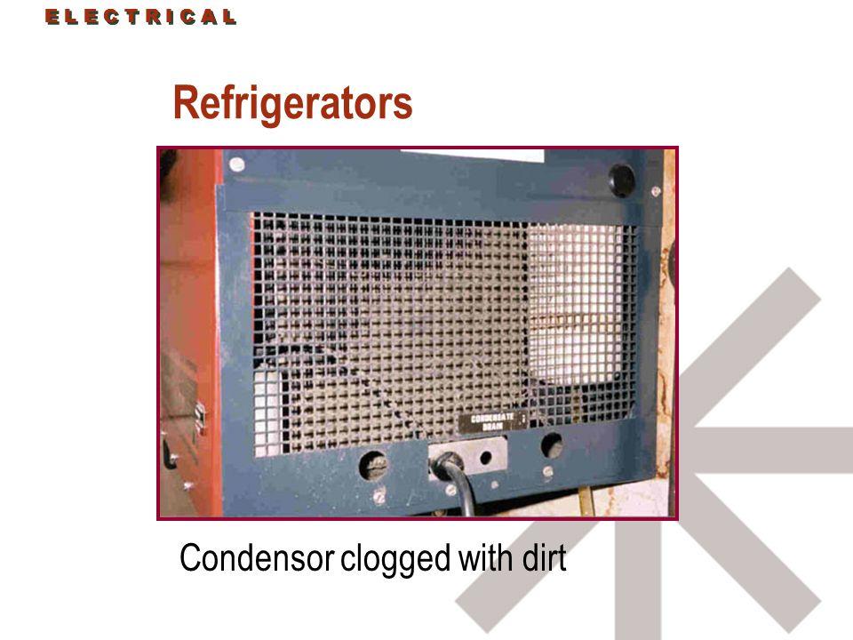 E L E C T R I C A L Refrigerators Condensor clogged with dirt E L E C T R I C A L