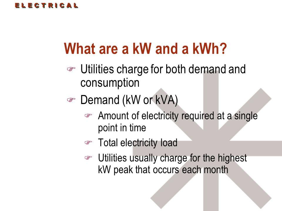 E L E C T R I C A L What are a kW and a kWh.