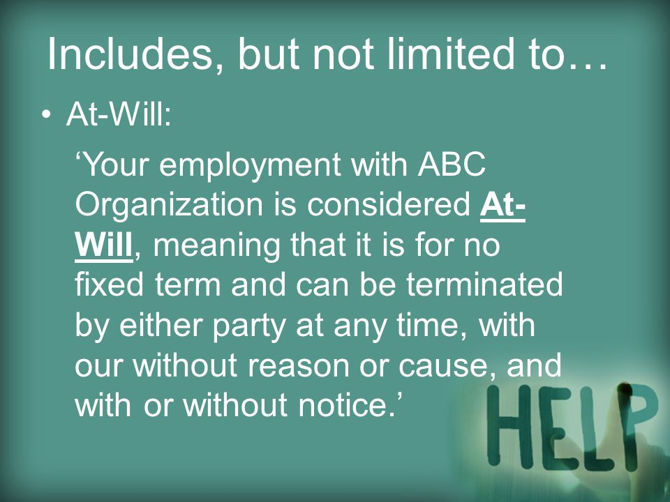 Includes, but not limited to… Equal Employment Opportunity (EEO) & American's with Disabilities Act (ADA) – reasonable accommodations