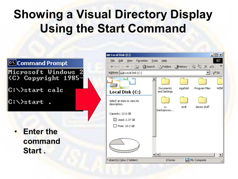 Showing a Visual Directory Display Using the Start Command Enter the command Start.