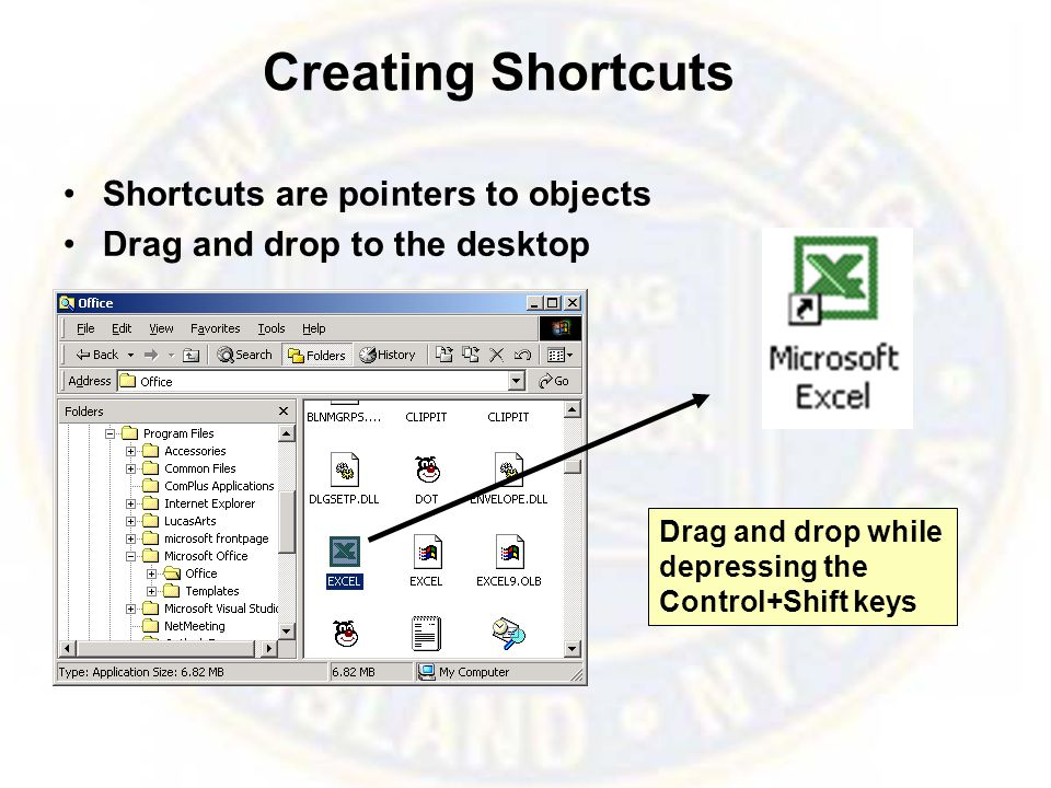 Creating Shortcuts Shortcuts are pointers to objects Drag and drop to the desktop Drag and drop while depressing the Control+Shift keys