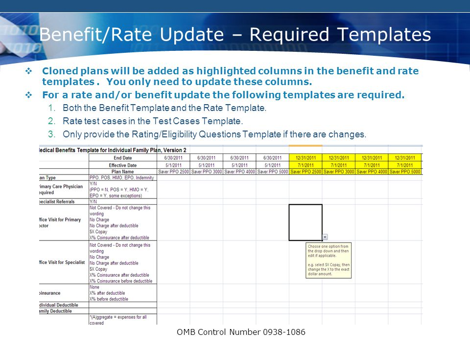 COMPANY LOGO OMB Control Number 0938-1086 Benefit/Rate Update – Required Templates  Cloned plans will be added as highlighted columns in the benefit and rate templates.