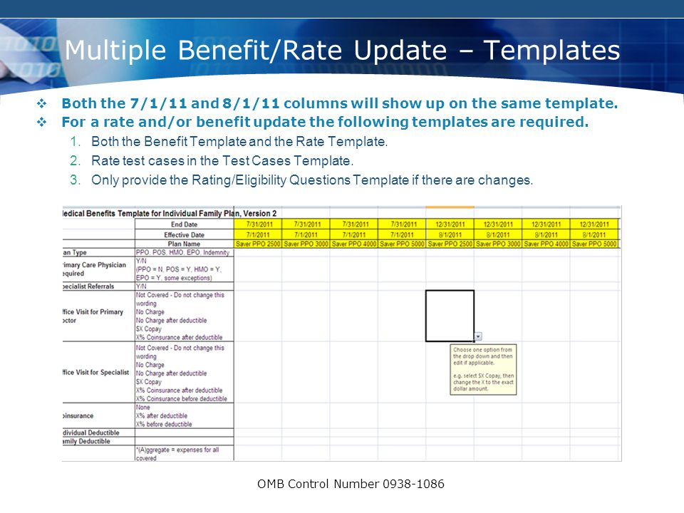 COMPANY LOGO OMB Control Number 0938-1086 Multiple Benefit/Rate Update – Templates  Both the 7/1/11 and 8/1/11 columns will show up on the same templ