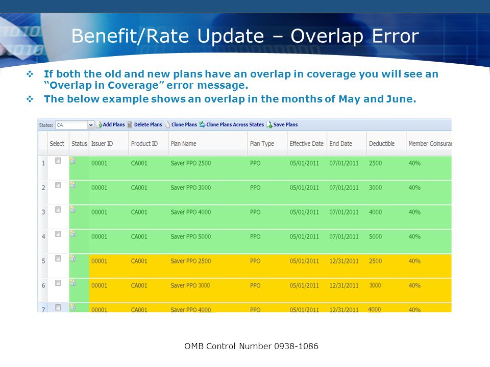 COMPANY LOGO OMB Control Number 0938-1086 Benefit/Rate Update – Overlap Error  If both the old and new plans have an overlap in coverage you will see