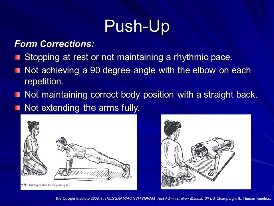 Push-Up The Cooper Institute 2008. FITNESGRAM/ACTIVITYGRAM Test Administration Manual, 3 rd Ed. Champaign, IL: Human Kinetics. Test Administration Gui
