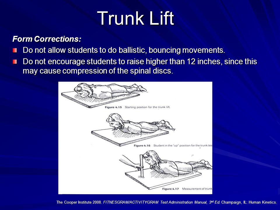 Trunk Lift The Cooper Institute 2008. FITNESGRAM/ACTIVITYGRAM Test Administration Manual, 3 rd Ed. Champaign, IL: Human Kinetics. Test Administration