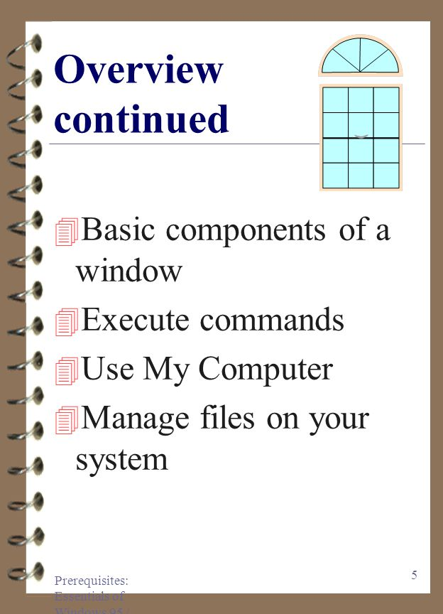 Prerequisites: Essentials of Windows 95 / 97 5 Overview continued 4 Basic components of a window 4 Execute commands 4 Use My Computer 4 Manage files on your system
