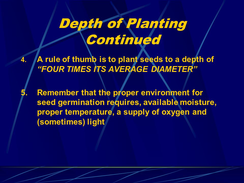 "Depth of Planting Continued 4. A rule of thumb is to plant seeds to a depth of ""FOUR TIMES ITS AVERAGE DIAMETER"" 5.Remember that the proper environmen"