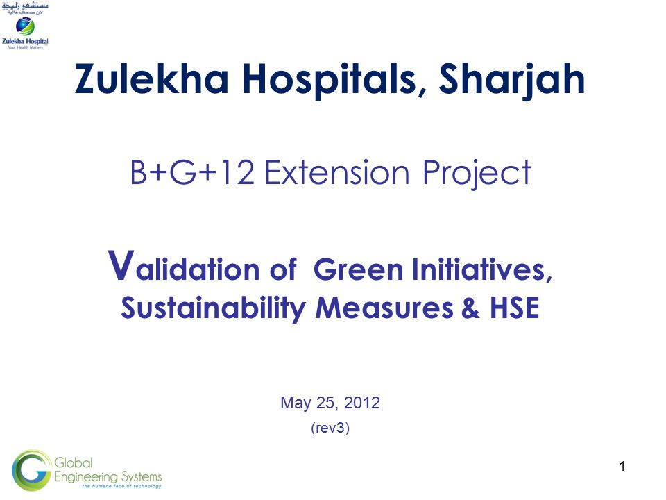 1 Zulekha Hospitals, Sharjah B+G+12 Extension Project V alidation of Green Initiatives, Sustainability Measures & HSE May 25, 2012 (rev3)