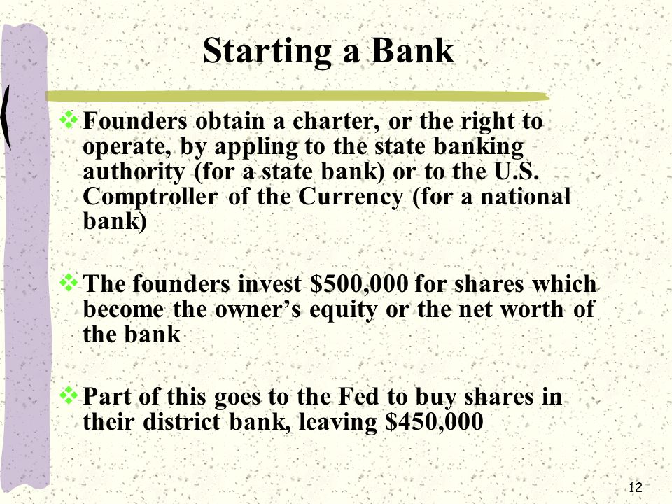 12 Starting a Bank  Founders obtain a charter, or the right to operate, by appling to the state banking authority (for a state bank) or to the U.S.