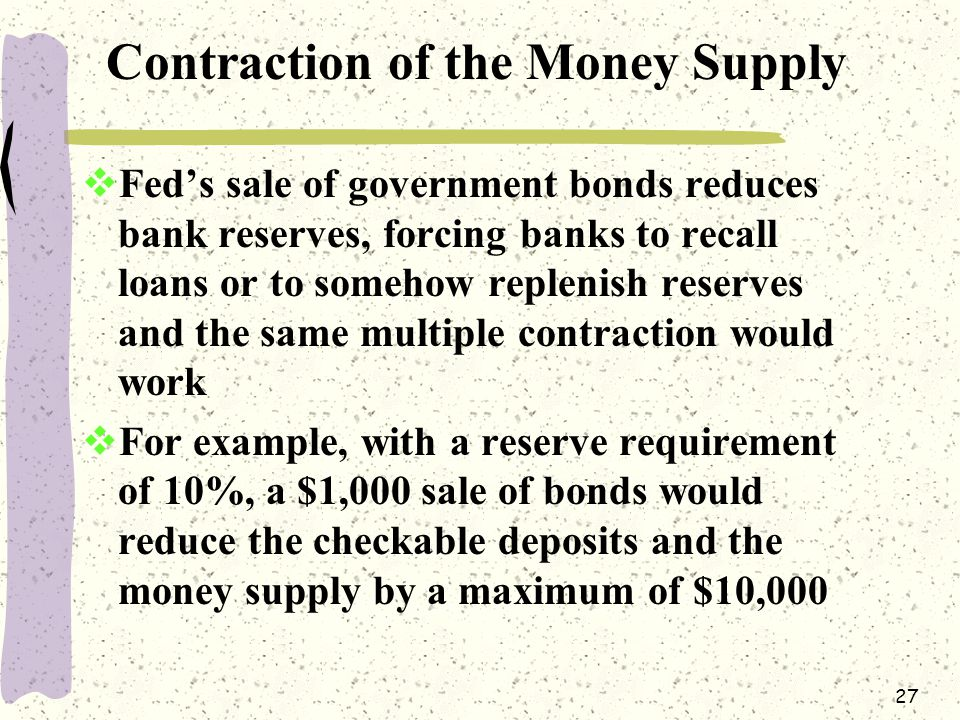 27 Contraction of the Money Supply  Fed's sale of government bonds reduces bank reserves, forcing banks to recall loans or to somehow replenish reserves and the same multiple contraction would work  For example, with a reserve requirement of 10%, a $1,000 sale of bonds would reduce the checkable deposits and the money supply by a maximum of $10,000