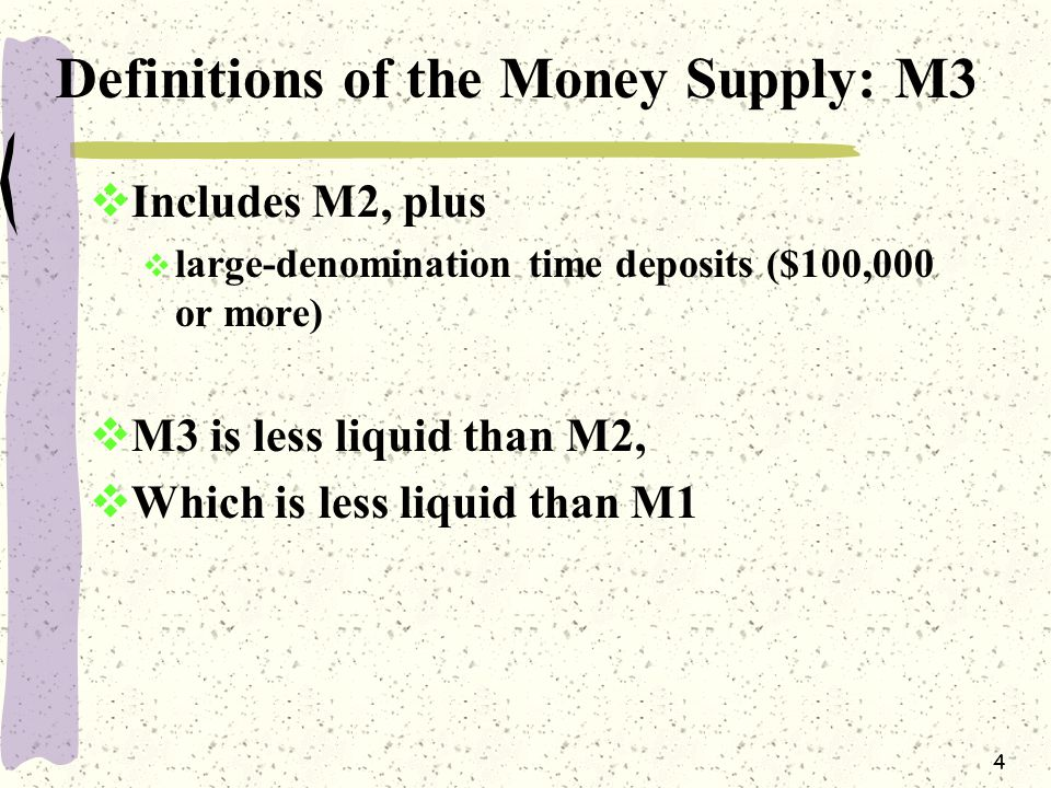 4 Definitions of the Money Supply: M3  Includes M2, plus  large-denomination time deposits ($100,000 or more)  M3 is less liquid than M2,  Which is less liquid than M1