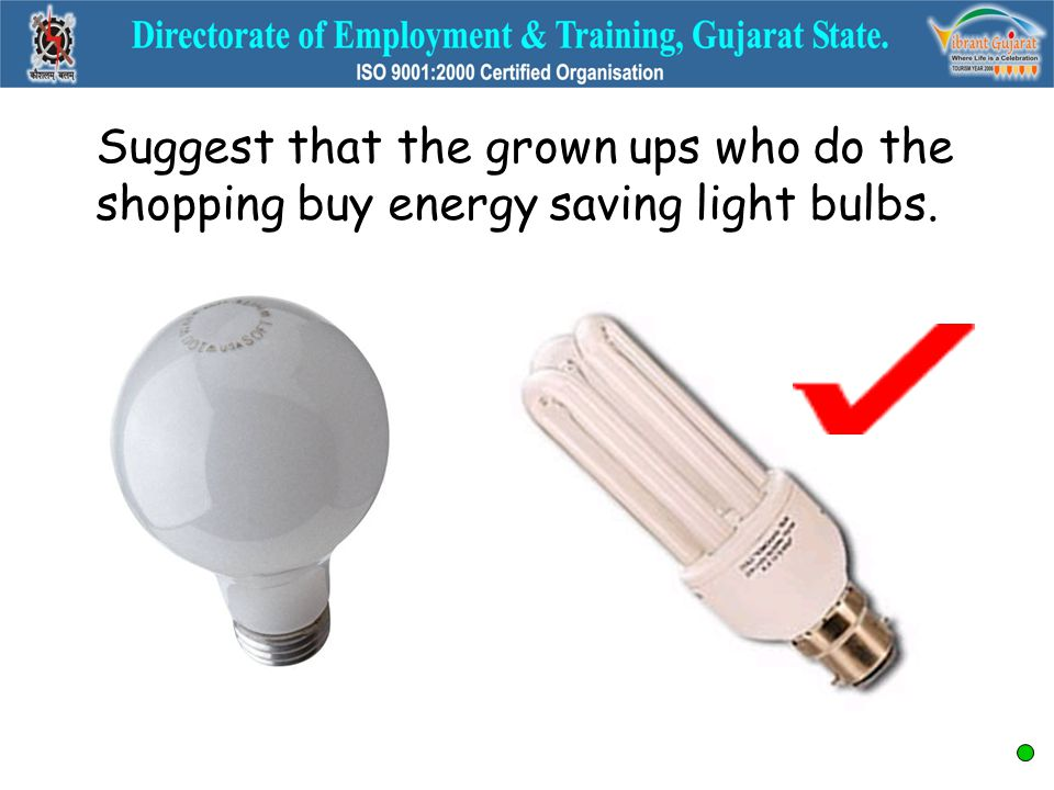 Suggest that the grown ups who do the shopping buy energy saving light bulbs.