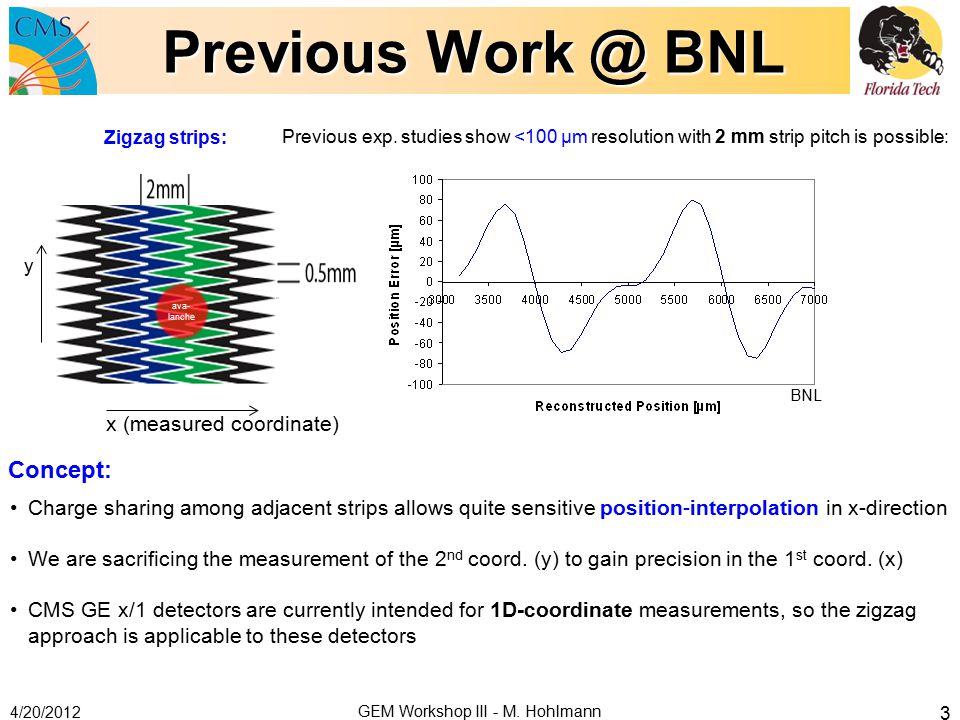 Previous Work @ BNL 4/20/2012 GEM Workshop III - M.