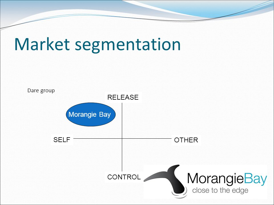 Market segmentation OTHER SELF CONTROL RELEASE Morangie Bay Dare group