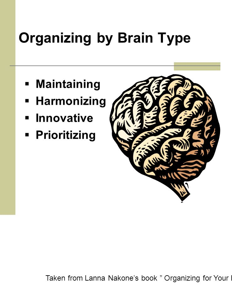 Organizing by Brain Type  Maintaining  Harmonizing  Innovative  Prioritizing Taken from Lanna Nakone's book Organizing for Your Brain Type