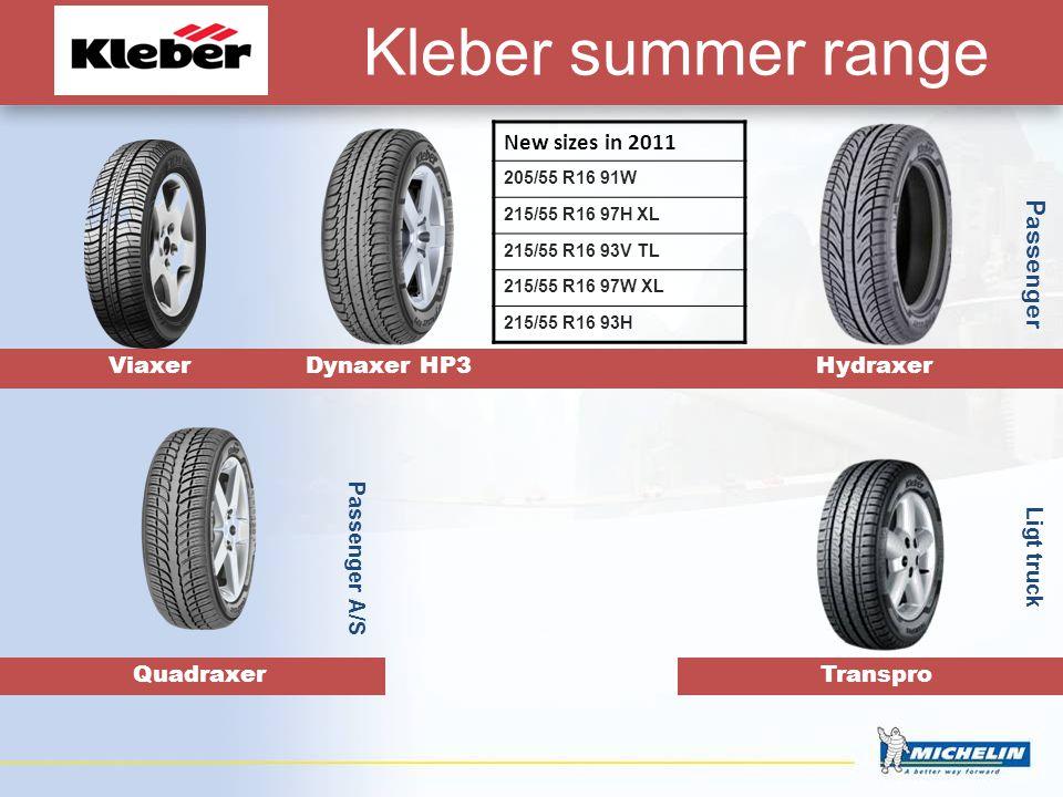 Kleber summer range Viaxer Dynaxer HP3 Hydraxer Transpro Passenger Ligt truck New sizes in 2011 205/55 R16 91W 215/55 R16 97H XL 215/55 R16 93V TL 215/55 R16 97W XL 215/55 R16 93H Quadraxer Passenger A/S