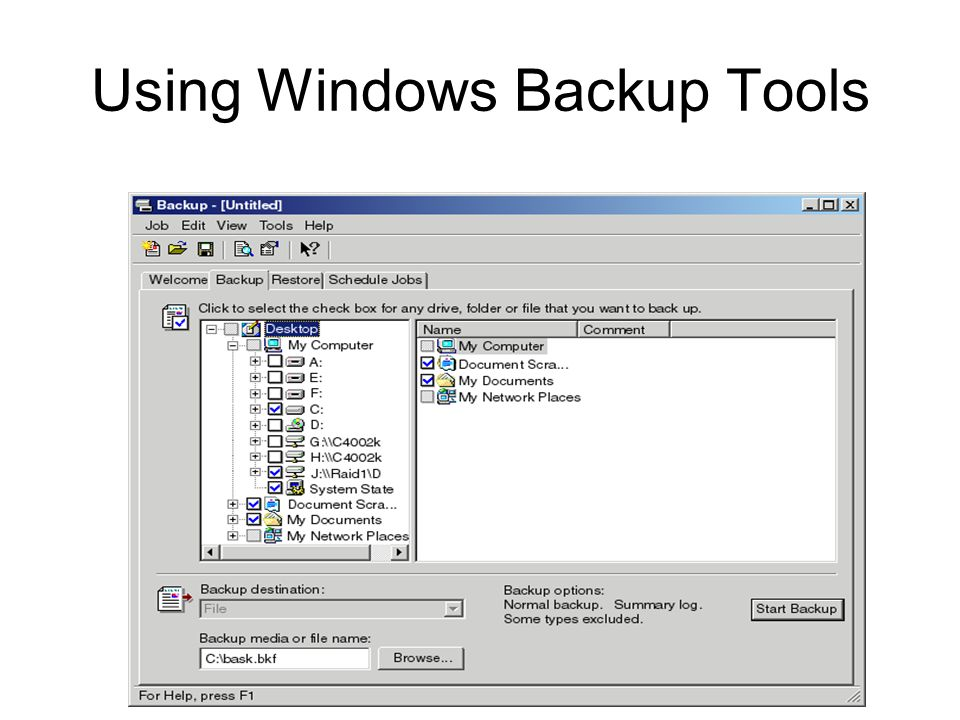 Using Windows Backup Tools